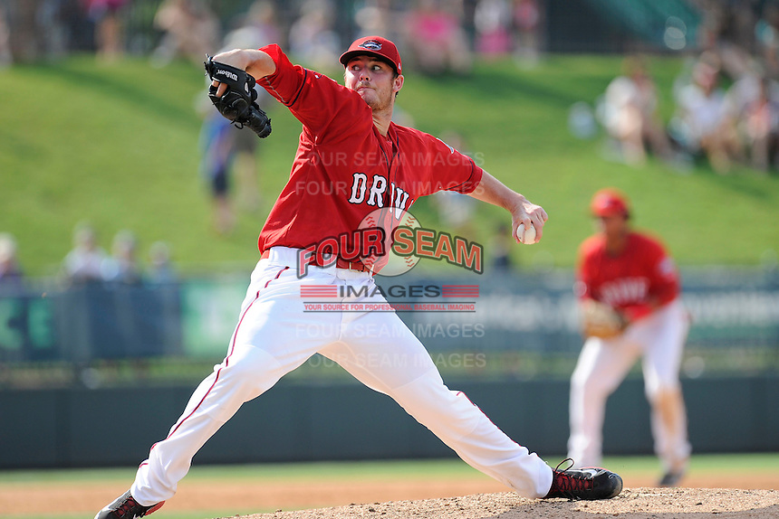 Starting pitcher Daniel McGrath (17) of the Greenville Drive in a game against the Augusta GreenJackets on Sunday, July 13, 2014, at Fluor Field at the West End in Greenville, South Carolina. Greenville won, 8-5. (Tom Priddy/Four Seam Images)