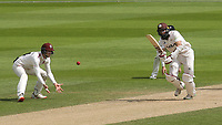 Surrey batsman, Hashim Amla is out for sixteen, caught and bowled, Jack Leach of Somerset during Surrey CCC vs Somerset CCC, LV Insurance County Championship Group 2 Cricket at the Kia Oval on 13th July 2021