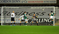 ATTENTION SPORTS PICTURE DESK<br /> Pictured: (L-R) David Cotterill, Federico Bessone and Dorus de Vries of Swansea City in action <br /> Re: Coca Cola Championship, Swansea City Football Club v Plymouth Argyle at the Liberty Stadium, Swansea, south Wales. Tuesday 08 December 2009