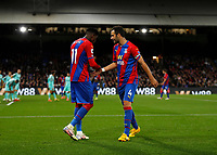 27th September 2021;  Selhurst Park, Crystal Palace, London, England; Premier League football, Crystal Palace versus Brighton & Hove Albion: Luka Milivojevic of Crystal Palace talking to Wilfried Zaha of Crystal Palace