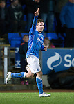 St Johnstone v Dundee United...27.12.14   SPFL<br /> Chris Millar celebrates his goal<br /> Picture by Graeme Hart.<br /> Copyright Perthshire Picture Agency<br /> Tel: 01738 623350  Mobile: 07990 594431
