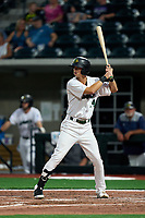 Beloit Snappers Connor Scott (24) bats during a game against the Peoria Chiefs on August 18, 2021 at ABC Supply Stadium in Beloit, Wisconsin.  (Mike Janes/Four Seam Images)