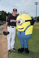 Kannapolis Intimidators relief pitcher Connor Walsh (45) poses for a photo with a Minion prior to the game against the Hagerstown Suns at CMC-Northeast Stadium on July 19, 2015 in Kannapolis, North Carolina.  The Suns defeated the Intimidators 9-4.  (Brian Westerholt/Four Seam Images)