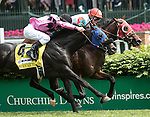 LOUISVILLE, KY - MAY 07: Camelot Kitten #9, ridden by Irad Ortiz Jr., wins the American Turf after overtaking Beach Patrol #4, ridden by Flavian Prat. ((Photo by Sue Kawczynski/Eclipse Sportswire/Getty Images)