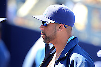 Tampa Bay Rays pitcher David Price #14 in the dugout during a spring training game against the Baltimore Orioles at the Charlotte County Sports Park on March 5, 2012 in Port Charlotte, Florida.  (Mike Janes/Four Seam Images)