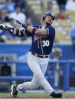 Ryan Klesko of the San Diego Padres bats during a 2002 MLB season game against the Los Angeles Dodgers at Dodger Stadium, in Los Angeles, California. (Larry Goren/Four Seam Images)
