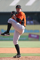 Sean Gleason #10 of the Frederick Keys pitching during a game against the Myrtle Beach Pelicans on May 2, 2010 in Myrtle Beach, SC.