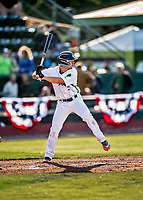 29 May 2021: Vermont Lake Monsters Infielder Noah Granet, from Scranton, PA, at bat against the Norwich Sea Unicorns at Centennial Field in Burlington, Vermont. The Lake Monsters defeated the Unicorns 6-3 in their FCBL Home Opener, the first home game played at Centennial Field post-Covid-19 pandemic. Mandatory Credit: Ed Wolfstein Photo *** RAW (NEF) Image File Available ***