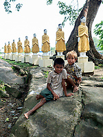 Young boys outside a Temple, Rakhine State Myanmar