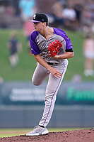 Starting pitcher Davis Martin (24) of the Winston-Salem Dash in a game against the Greenville Drive on Wednesday, June 30, 2021, at Fluor Field at the West End in Greenville, South Carolina. (Tom Priddy/Four Seam Images)