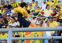 BARRANCABERMEJA  - COLOMBIA, 25-08-2019: Hinchas de Alianza Petrolera. Acción de juego entre los equipos  de  Alianza Petrolera y Atlético Huila durante partido por la fecha 8 de la Liga Águila II 2019 jugado en el estadio Daniel Villa Zapata de la ciudad de Barrancabermeja. /Fans of Alianza Petrolera .Action game between  Alianza Petrolera  and Atletico Huila  during the match for the date 8 of the Liga Aguila II 2019 played at the Daniel Villa Zapata Stadium in Barrancabermeja  city. Photo: VizzorImage / José Martínez  / Contribuidor