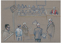 Montreal - CANADA - File images -  An artist's sketch shows Lin Feng testifiying at  Luka Rocco Magnotta,  trial for the murder of (Feng former lover)  Lin Jun,, October 1st, 2014.<br /> <br />  It is one of the most grisly and sensational murder trials in Canadian history<br /> <br /> Image :  Agence Quebec Presse  - Atalante