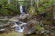 Pearl Cascade in Bethlehem, New Hampshire during the spring months. These cascades are located on Crawford Brook, near Avalon Path, in the White Mountains region of New Hampshire.