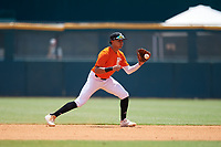 Ryan Oniel Cepero Roman (5) of Carlos Beltran Baseball Academy in Arecibo, PR during the Perfect Game National Showcase at Hoover Metropolitan Stadium on June 20, 2020 in Hoover, Alabama. (Mike Janes/Four Seam Images)