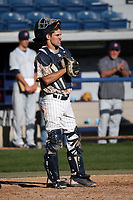 Joe Caparis (40) of the Pepperdine Waves at catcher during a game against the Fresno State Bulldogs at Eddy D. Field Stadium on March 7, 2017 in Los Angeles, California. Pepperdine defeated Fresno State, 8-7. (Larry Goren/Four Seam Images)
