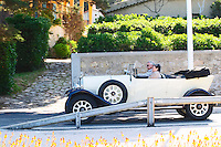 An old antique collectors Talbot car with a man and a woman inside Le Brusc Six Fours Var Cote d'Azur France