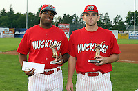 September 5 2008:  Xavier Scruggs and Shane Peterson of the Batavia Muckdogs, Class-A affiliate of the St. Louis Cardinals, during game at Dwyer Stadium in Batavia, NY.  Photo by:  Mike Janes/Four Seam Images
