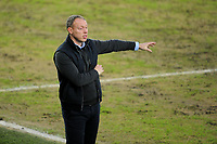 Steve Cooper Head Coach of Swansea City shouts instructions to his team from the dug-out during the Sky Bet Championship match between Swansea City and Barnsley at the Liberty Stadium in Swansea, Wales, UK. Saturday 19 December 2020