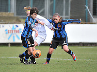 Club Brugge Dames - Heerenveen : duel met Ingrid De Rycke (links) en Nina Vindevoghel (rechts)<br /> foto Joke Vuylsteke / nikonpro.be