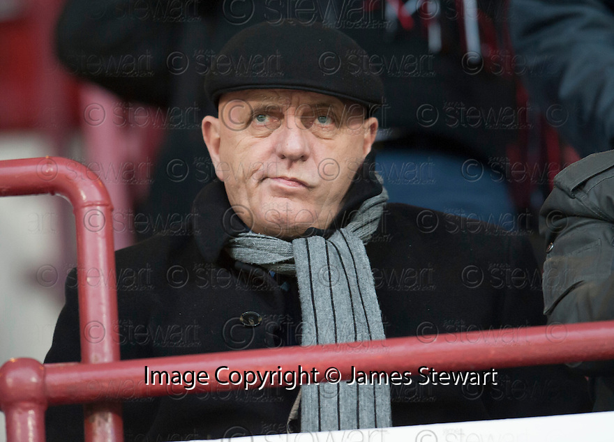 Forfar manager Dick Campbell takes his seat in the stand at the start of the game.