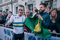 Rohan Dennis (AUS/BMC) is the new TT World Champion by being faster than Dumoulin and Campenaerts<br /> <br /> MEN ELITE INDIVIDUAL TIME TRIAL<br /> Hall-Wattens to Innsbruck: 52.5 km<br /> <br /> UCI 2018 Road World Championships<br /> Innsbruck - Tirol / Austria