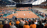 20-9-08, Netherlands, Apeldoorn, Tennis, Daviscup NL-Zuid Korea, Dubbles match: Jesse Huta Galung and Peter Wessels  vs  HyungTaik Lee and WongSun Jun, overall view