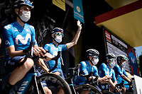 Alejandro Valverde (ESP/Movistar) at the team presentation<br /> <br /> 73rd Critérium du Dauphiné 2021 (2.UWT)<br /> Stage 6 from Loriol-sur-Drome to Le Sappey-en-Chartreuse (167km)<br /> <br /> ©kramon