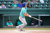 Third baseman Shay Whitcomb (9) of the Asheville Tourists in a game against the Greenville Drive on Tuesday, August 31, 2021, at Fluor Field at the West End in Greenville, South Carolina. (Tom Priddy/Four Seam Images)