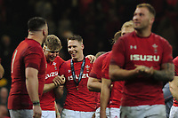 Pictured: Liam Williams (centre) of Wales celebrates at full time during the Guinness six nations match between Wales and England at the Principality Stadium, Cardiff, Wales, UK.<br /> Saturday 23 February 2019