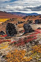 Granit tors dot the landscape in the Bering Land Bridge National Preserve, Seward Peninsula, Alaska.