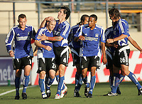 18 June 2005:  Danny Califf of Earthquakes celebrates with Wade Barrett of Earthquakes after Barrett scored a goal during the first half of the game against Real Salt Lake at Spartan Stadium in San Jose, California.   Earthquakes leads Real Salt Lake, 3-0 at halftime.    Earthquakes leads Real Salt Lake, 3-0 at halftime.    Mandatory Credit: Michael Pimentel / ISI