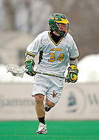 14 April 2007: University of Vermont Catamounts' Shay Cunningham, a Junior from Southborough, MA, in action against the University of Albany Great Danes at Moulton Winder Field, in Burlington, Vermont. The Great Danes defeated the Catamounts 14-7...Mandatory Photo Credit: Ed Wolfstein Photo