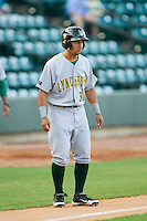 Emerson Landoni (36) of the Lynchburg Hillcats takes his lead off of third base against the Winston-Salem Dash at BB&T Ballpark on August 13, 2014 in Winston-Salem, North Carolina.  The Hillcats defeated the Dash 4-3.   (Brian Westerholt/Four Seam Images)