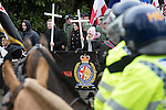 © Joel Goodman - 07973 332324 . 25/02/2017. Telford, UK. Britain First leader Paul Golding and deputy leader Jayda Fransen at a demonstration in Telford , opposed by anti-fascist groups . Britain First say they are highlighting concerns about child sexual exploitation in the town . Photo credit : Joel Goodman