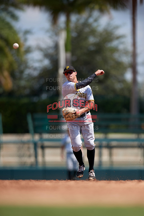Pittsburgh Pirates Kevin Kramer (26) throws to first base during an Instructional League game against the Baltimore Orioles on September 27, 2017 at Ed Smith Stadium in Sarasota, Florida.  (Mike Janes/Four Seam Images)