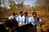 Students from grades 8 and 9 at Kafinda basic school in Sereje district, near Kasanka National Park, on their first safari. Local schools and women's groups are regularly brought into Kasanka, which is unique in the country and unusual in Africa as it is privately managed and owned by a trust. People are able to see animals flourishing in land which was once free reign for poachers. Combined with anti-poaching scouts, the education programme is on the frontline of conservation methods in the park, showing local people wild animals in their natural habitat.