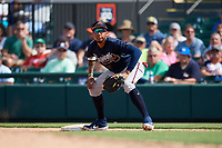 Atlanta Braves first baseman Johan Camargo (17) during a Grapefruit League Spring Training game against the Detroit Tigers on March 2, 2019 at Publix Field at Joker Marchant Stadium in Lakeland, Florida.  Tigers defeated the Braves 7-4.  (Mike Janes/Four Seam Images)