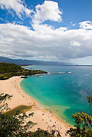 View of Waimea Bay from above on a sunny summer day