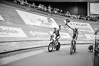 Kenny De Ketele (BEL/SportVlaanderen-Baloise) & Moreno De Pauw (BEL/SportVlaanderen-Baloise) celebrating<br /> <br /> Ghent6 2017
