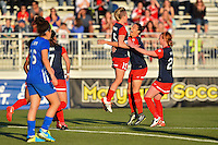 Boyds, MD - Saturday April 16, 2016: Washington Spirit midfielder Joanna Lohman (15) celebrates scoring with teammates during a National Women's Soccer League (NWSL) match against the Boston Breakers at Maureen Hendricks Field Maryland SoccerPlex.