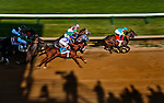 Bodemeister, with jockey Mike Smith aboard, leads the field into the first turn before being run down by I'll Have Another, Mario Gutierrez up, to win the Preakness Stakes to grab the second leg of the Triple Crown at Pimlico Race Course on May 19, 2012