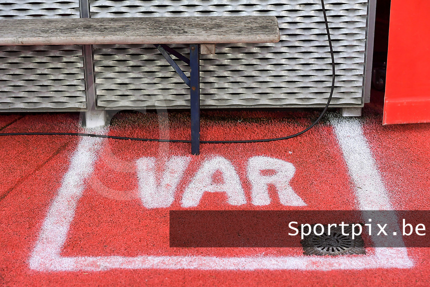 illustration picture VAR zone during a female soccer game between Standard Femina de Liege and AA Gent Ladies on the 6th matchday in play off 1 of the 2020 - 2021 season of Belgian Scooore Womens Super League , tuesday 11 th of May 2021  in Liege , Belgium . PHOTO SPORTPIX.BE | SPP | STIJN AUDOOREN