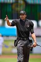 Umpire Jon-Tyler Shaw during a game between the Palm Beach Cardinals and Bradenton Marauders on May 30, 2021 at LECOM Park in Bradenton, Florida.  (Mike Janes/Four Seam Images)