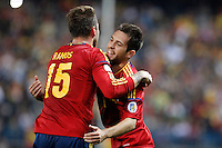 Spain's national team Sergio Ramos celebrates with Jordi Alba during match. October 16, 2012. (ALTERPHOTOS/Alvaro Hernandez) /NORTEPhoto