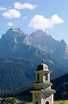 Italy, South Tyrol, Alto Adige, Dolomites, Val di Sesto, Sesto Pusteria:  parish church spire, Cima Croda Rossa and Cima Undici mountains