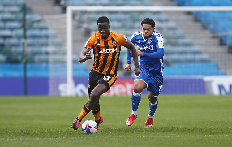 Hull City's Josh Emmanuel and Gillingham's Trae Coyle<br /> <br /> Photographer Rob Newell/CameraSport<br /> <br /> The EFL Sky Bet League One - Gillingham v Hull City - Saturday September 12th 2020 - Priestfield Stadium - Gillingham<br /> <br /> World Copyright © 2020 CameraSport. All rights reserved. 43 Linden Ave. Countesthorpe. Leicester. England. LE8 5PG - Tel: +44 (0) 116 277 4147 - admin@camerasport.com - www.camerasport.com