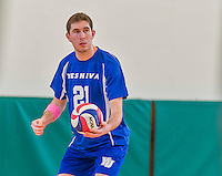 22 February 2015: Yeshiva University Maccabee Middle Blocker Jonathan Shedlo, a Sophomore from Baltimore, MD, prepares to serve as he makes his college athletic debut during a game against the Sage College Gators at the Kahl Gymnasium, in Albany, NY. The Maccabees fell to the Gators 3-0 in NCAA Division III Men's Volleyball Skyline play. Mandatory Credit: Ed Wolfstein Photo *** RAW (NEF) Image File Available ***