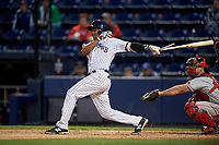 Scranton/Wilkes-Barre RailRiders third baseman Abiatal Avelino bats during a game against the Pawtucket Red Sox on May 15, 2017 at PNC Field in Moosic, Pennsylvania.  Scranton defeated Pawtucket 8-4.  (Mike Janes/Four Seam Images)