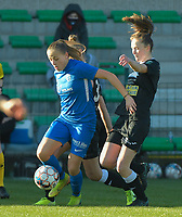 Genk's forward Britt Labro (L) and Aalst's forward Loes Van Mullem (R)  pictured during a female soccer game between Eendracht Aalst and Racing Genk on the fifth matchday of the 2020 - 2021 season of Belgian Scooore Womens Super League , Saturday 28 th of November 2020  in Aalst , Belgium . PHOTO SPORTPIX.BE | SPP | DIRK VUYLSTEKE