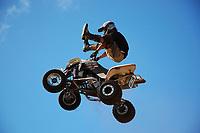 IMS freestyle ATV (all terrain vehicle) demo, Parker Ranch Rodeo grounds Waimea, Big Island, Hawaii, USA